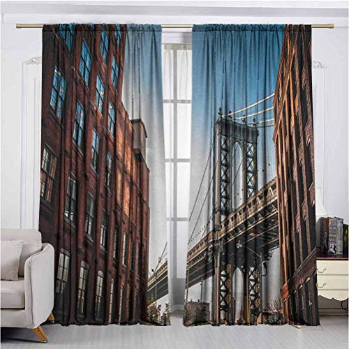 Annery New York Wear-Resistant Color Curtain Manhattan Bridge Seen from Narrow Alley Island Borough Globally Influential Town NYC Waterproof Fabric W84 x L84 Inch Blue Red