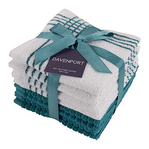 KAF Home Davenport 100% Cotton Dish Cloths | Set of 8, 12 x 12 Inches | Absorbent and Machine Washable | Perfect for Cleaning Counters, and Any Household Spills (Teal, 12"|500|500|?|4117743d68c6fd897a8cf6e9bb8f190b|UNLIKELY|0.34861233830451965