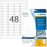 HERMA 4346 Universal Etiketten DIN A4 ablösbar, klein (45,7 x 21,2 mm, 25 Blatt, Papier, matt) selbstklebend, bedruckbar, abziehbare und wieder haftende Adressaufkleber, 1.200 Klebeetiketten, weiß