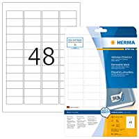 HERMA 4346 45.7x21.2mm Movables Colour Laser Paper Rectangular Removable Labels with Round Corners - Matte White (1200 Labels, 48 per Sheet)