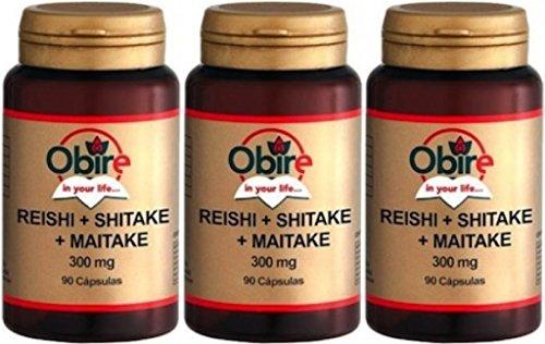 Reishi + shitake + maitake 300 mg. 90 capsule. (Pack 3 pezzi)