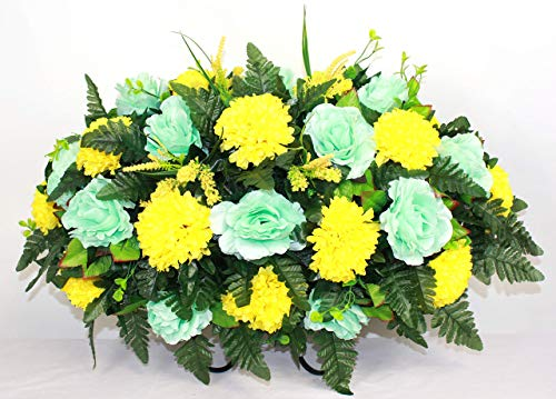 XL Fall Mixture Artificial Silk Flower Cemetery Tombstone Grave Saddle