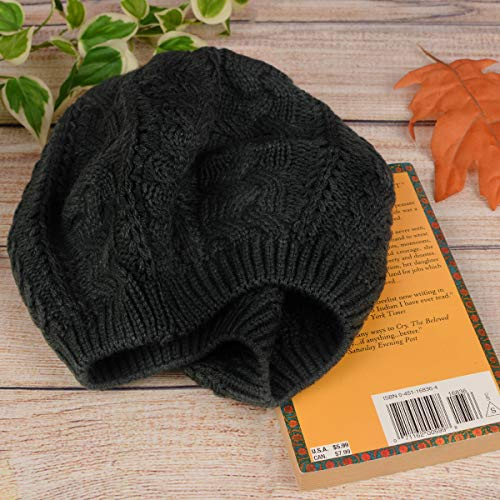 BG Soft Knit Solid Color Beanie, Chic, and Lightweight Crochet Knitted Style Beanie Hat for Women, One Size Slouchy - Black
