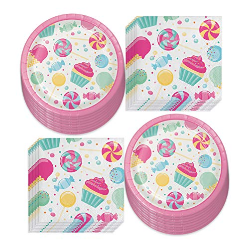 Candy Party Supplies - Sweet Treats Ice Cream, Cupcakes, and Candy Land Paper Dessert Plates and Beverage Napkins (Serves 16)