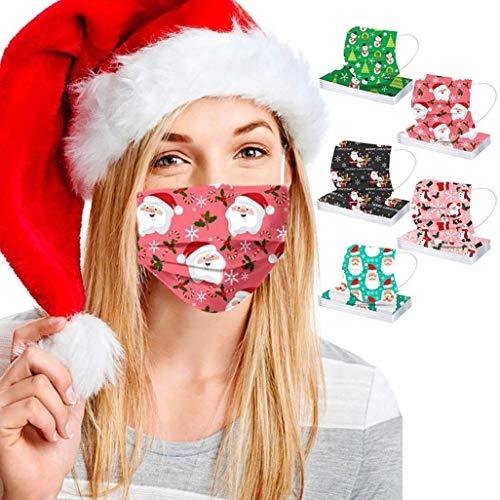 50-stück Weihnachten mundschutz Erwachsene,mundschutz einweg,Einweg Mund und nasenschutz Schutz_Ma_ske,mundschutz kaufen,Atmungsaktive und komfortable elastische Ohrmuscheln Gesichtsschutz (D)