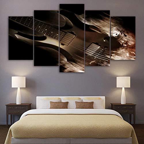 DBFHC Art Cuadros En Lienzo Guitarra Electrica Decoracion De Pared 5 Piezas Modernos Mural Fotos para Salon Dormitori Baño...