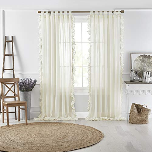 """Elrene Home Fashions Bella Tab-Top Ruffle Sheer Window Curtain Panel for Living, Dining Room, Bedroom, 52"""" x 95"""" (1, Ivory"""