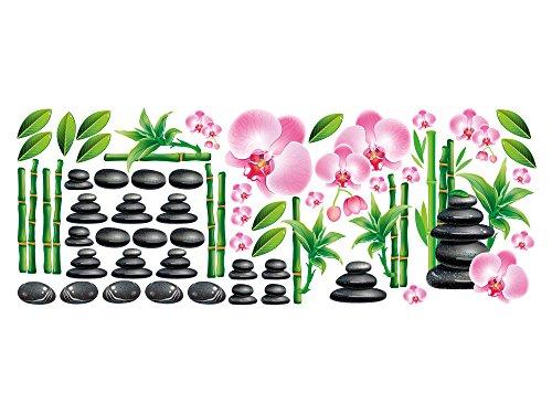 GRAZDesign Wandsticker Set Badezimmer Wellness Massagesteine Bambus und Orchideen Blüten (150x57cm)