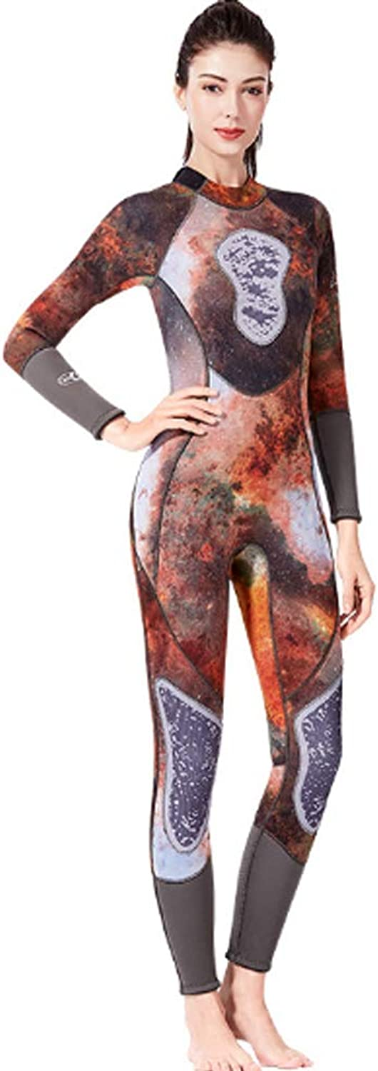 HBRT Women's Neoprene Wetsuit,3mm Long-Sleeve Swimsuit Water Suits for Scuba Diving Surfing Kayaking Canoeing Snorkeling