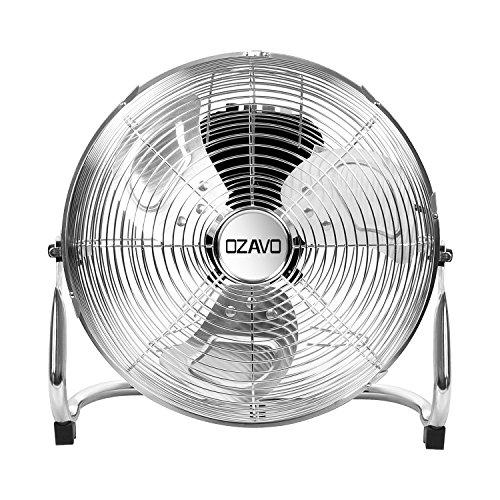 OZAVO Standventilator, Metall Windmaschine mit 3 Laufgeschwindigkeiten, Power Bodenventilator, Tischventilator 50 cm, Luftkühler, verstellbare Neigungswinkel, 80W