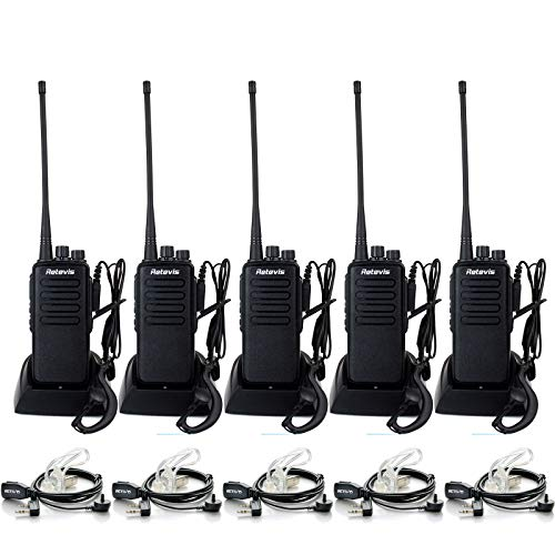 Retevis RT1 2 Way Radios Walkie Talkies Long Range,High Power Two Way Radios Rechargeable,with Earpiece,3000mAh Battery, Rugged, Emergency Alarm,for Adult Construction Warehouse Industry(5 Pack)