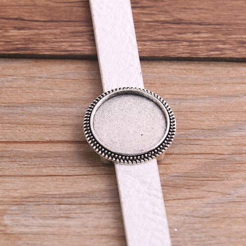 1pcs PU Bangles Base Setting Cuff Blank Trays Brazel fit 18mm Glass Cameo Dome Cabochon DIY Bracelet Jewelry Making P6549 (Color : White)
