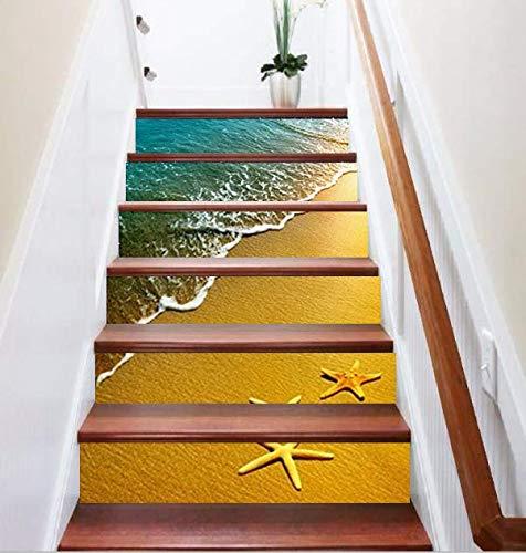 FLFK 3D Starfish Ocean Beach Staircase Sticker Self-Adhesive Wall Murals Wallpaper Home Decor 39.3Inch x7.08Inchx6PCS/Set
