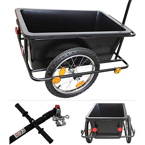 Grafner XXL Fahrradanhänger mit 90 Liter Kunststoffwanne incl. Kupplung und 80 kg Zuladung, mit Reflektoren, Fahrradlastenanhänger Handwagen Transportanhänger Anhänger