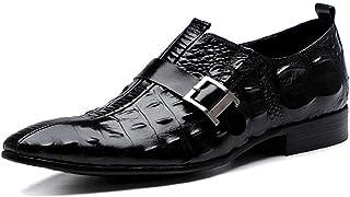 Crocodile Print Business Leather Shoes,Men's Buckle Dress Shoes Urban Walking Work Banquet Footwear,Black-37
