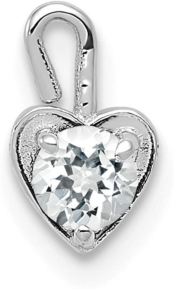 14k White Gold April Simulated Over item handling Charm Birthstone Low price Heart