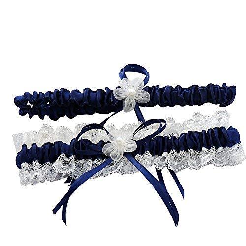 Awtlife Ligas de boda de encaje azul real con decoración de flores