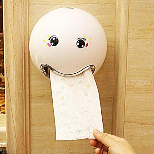 MMLsure Toilettenpapierhalter Box Ball Shaped Nette Bad Wc Wasserdichte Toilettenpapier Box Rollen Papierhalter für Bad (Weiß)