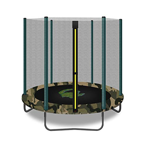 Gardenature 5 FT Kids Trampoline with Safety Enclosure Net, Spring Pad, Zipper, Mini Trampoline for Kids Indoor/Outdoor-Camouflage
