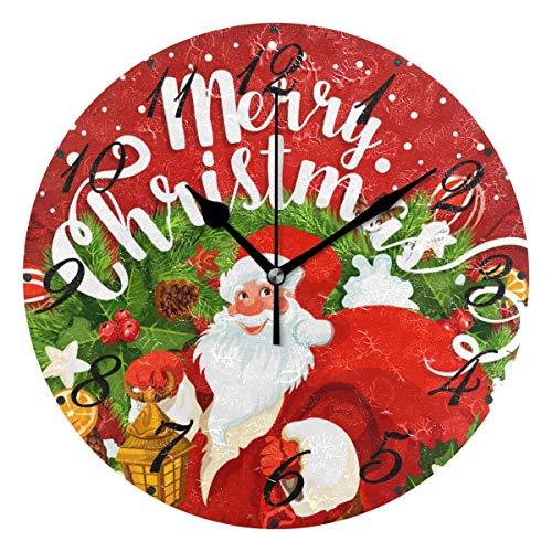 Jacque Dusk Reloj de Pared Moderno,Feliz Navidad Papá Noel