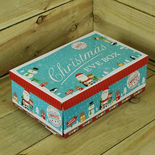 Snow White Small Blue Christmas Eve Box Santa Snowman Elf Penguin Festive Fun 8.3 x 12.6 x 4.3 Inches