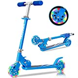 Tenboom Scooters for Kids Ages 6-12, 2 LED Light Up Wheels Easy Folding Boys Girls Scooter with 3 Adjustable Handlebar and Rear Brake