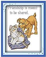 クロスステッチ大人、初心者11ctプレプリントパターン猫と犬40x50cm -DIYスタンプ済み刺繍ツールキットホームの装飾手芸い贈り物40x50cm(フレームがない )