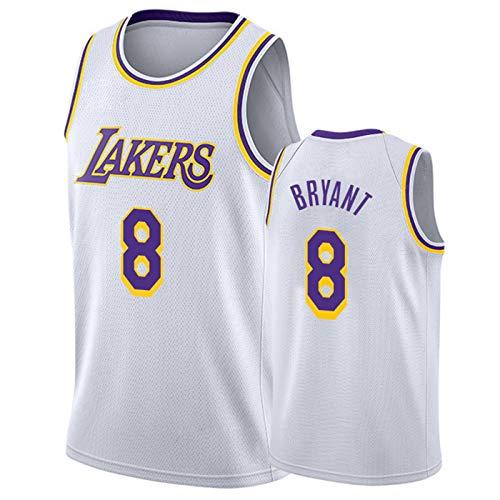 FEZBD Bryant Basketball Jersey, Laker # 8 Malla Camisetas, Fanáticos De Los Niños Uniforme Camiseta Tops Swingman Jersey,Blanco,S165~170cm