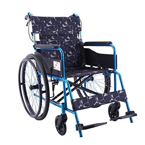 Plegable Silla de Ruedas, Silla de Ruedas Transporte Ligero Médico Aprobado, con reposapiés extraíble y Bolsillos de Llevar, (Color : Blue)
