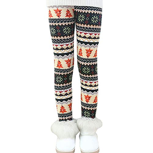 Ugitopi Bambini Ragazze Leggings in Foderati Pantaloni Invernali Lunghi Spessi Stretch Pantalone 140 Christmas tree