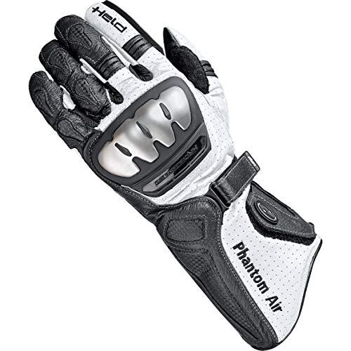 Held Motorradhandschuhe lang Motorrad Handschuh Phantom Air Handschuh schwarz/weiß 10, Herren, Sportler, Sommer, Leder