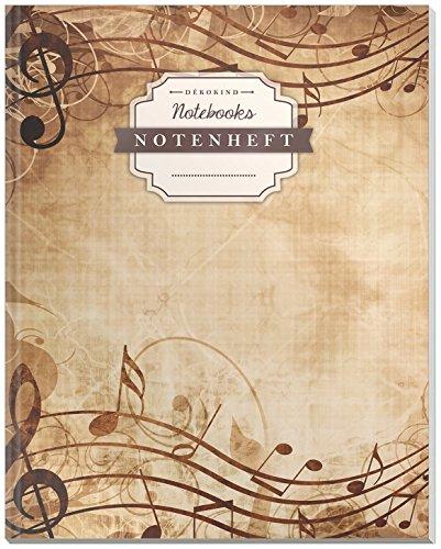 DÉKOKIND Notenheft | DIN A4, 64 Seiten, 12 Notensysteme pro Seite, Inhaltsverzeichnis, Vintage Softcover | Dickes Notenbuch | Motiv: Elegant