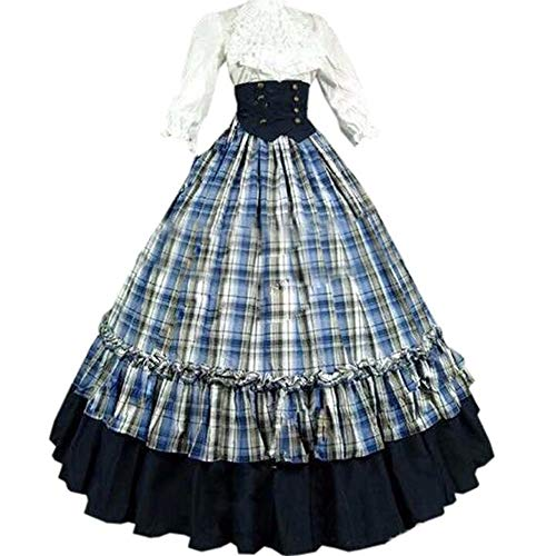 I-Youth Womens Renaissance Civil War Victorian Dress Southern Belle Cosplay Medieval Pioneer Dickensonian Costume(S, Blue)