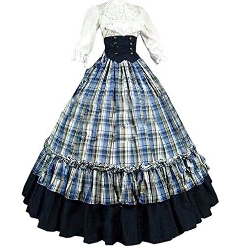 I-Youth Damen Gothic Viktorianisches Kostüm, Gitter lang, Mittelalterliches Rokoko-Ballkleid Cosplay Halloween Maskerade Kostüme - blau - XX-Large