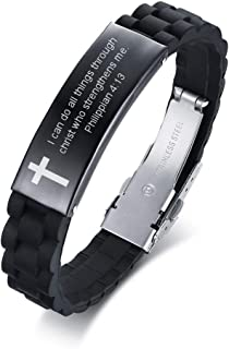 Black Religious Quote Faith Christian Bible Verse Inspirational ID Wristband Cross Bracelets for Men Dad