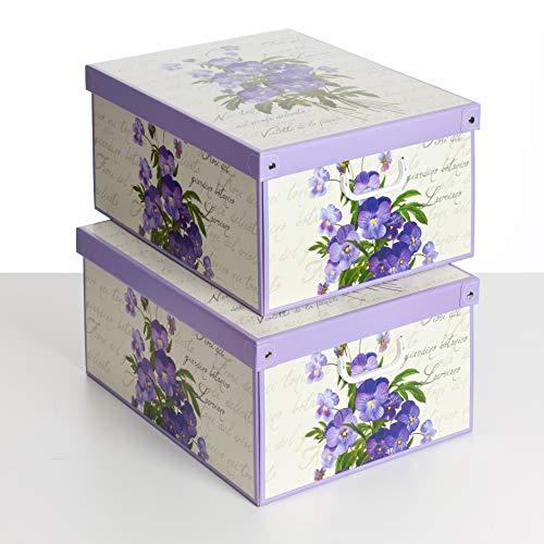 Juego de 2 cajas perfumadas de cartón para el almacenamiento de ropa, sábanas, guardarropas y cambio de estación, violetas, montaje fácil y rápido, resistente, tamaño grande