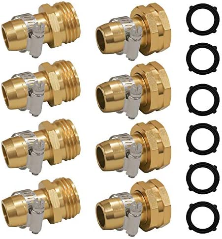 Hourleey Garden Hose Repair Connector with Clamps Fit for 3 4 or 5 8 Garden Hose Fitting 4 Set product image