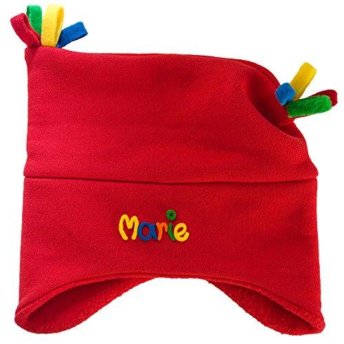 Kuschelmütze Mädchen mit Namen Rot - Personalisierte Mütze für Kinder Winter - Kindermütze Babymütze Babyhaube Wintermütze mit Wunschbeschriftung