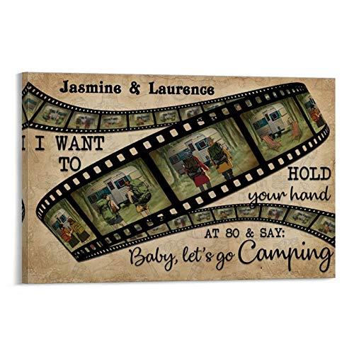 Póster de camping personalizado con texto en inglés 'I Want To Film Roll horizontal, pintura decorativa en lona, arte de la pared, carteles para sala de estar, dormitorio, pintura de 50 x 75 cm