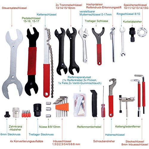 Yorbay Fahrrad Werkzeugkoffer 48-TLG Werkzeugset im praktischen Tragekoffer universelles Fahrradwerkzeug zur Fahrradreparatur zu Hause - 4