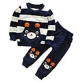 Sunenjoy Automne Hiver Enfants Bébé Fille Garçon Long Manchon Bleu Vêtements Ensemble Rayé Ours Tops + Pantalon Tenues (3 Ans)