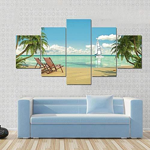 Cuadro sobre Lienzo - 5 Piezas - Impresión En Lien Playa con Hamacas Y Barco. 5 Piezas Imágenes Pared Decoración De Dormitorio Modular Regalos De Cumpleaños De Navidad