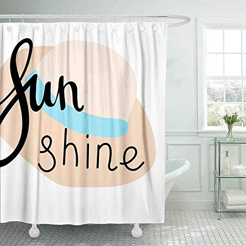 Shorping 72X72 Fun Shower Curtain, Bath Shower Curtains Cute Shower Curtain Summer Lettering Logos Flat Handdrawn Cartoon Style Unique Shower Curtain Country Shower Curtain Outhouse Shower Curtain