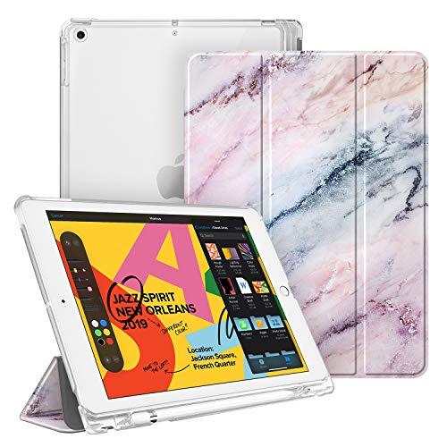 Fintie Hülle mit Pencil Halter für iPad 10.2 2019, Superdünn Superleicht Schutzhülle mit durchsichtiger Rückseite Abdeckung mit Auto Schlaf/Wach Funktion für 10.2