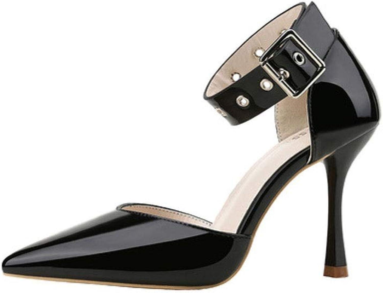KTYXDE High Heels Elegant Temperament Beautiful Shallow Sandals Stilettos 9.5CM 4 colors Women's shoes (color   Black, Size   EU37 UK4.5-5 CN37)