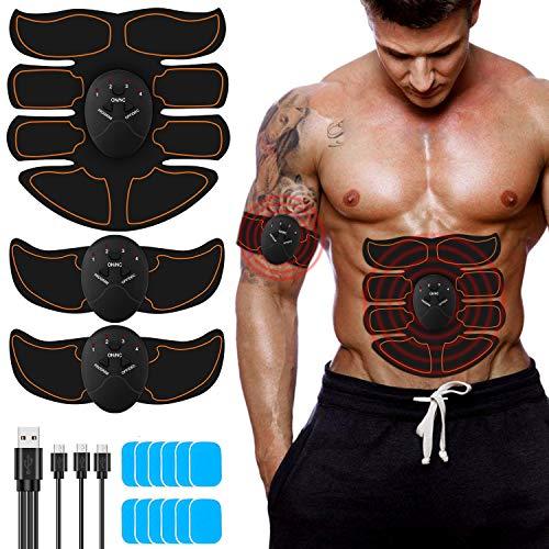 FYLINA EMS Muskelstimulator ABS Trainingsgerät bauchtrainer USB Elektrostimulation Muskelstimulation Stimulator Fitnessgürtel Bauchmuskeltrainer für Damen Herren