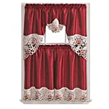 Summer Passion Kitchen Cafe Curtain Set Swag Valance and Tier Set. Nice Matching Color Rose Embroidery on Border with cutworks (Wine)