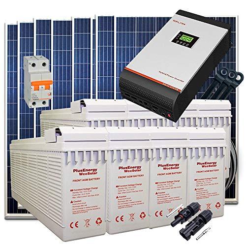 Kit Solar 24v 2000w/10000w día Batería FT-250Ah Inversor Multifunción 3kva Regulador MPPT 60A