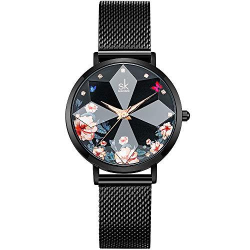 SHENGKE Estrella Reloj de Pulsera para Mujer, Correa de Malla, Elegante, para Mujer, Estilo Simplicidad,Flores (Flower-Mesh Band-Black)