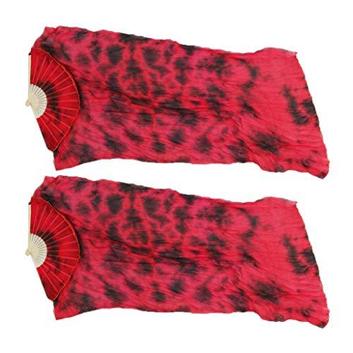 Baoblaze 1 Paar 180 X 90 Cm Licht Bauchtanz Silk Bambus Fan Schleier - rot, 180 cm